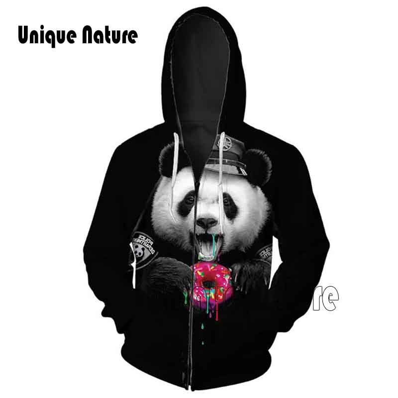 Unique Nature Cute Hoody 3D Panda eat donuts Print Zipper Hoodies Long Sleeve Tracksuits with Pockets Outwear Plus Size 5XL