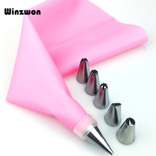 8Pcs Set Silicone Kitchen Accessories Icing Piping Cream Pastry Bag With 6 Stainless Steel Nozzle DIY Cake Decorating Tips Set cheap Winzwon Dessert Decorators CE EU Cake Tools Stocked Eco-Friendly Silicone Rubber A0128 Approx 30 5cm x 17 2cm Approx 2 5cm x 3 3cm