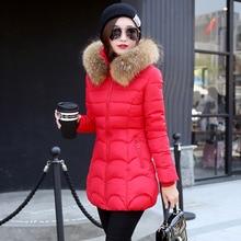 2016 новый Корейский хлопок пальто длинный участок толстой мягкой меховой воротник Тонкий стильный зимняя куртка горячей продажи женщин парки 7339