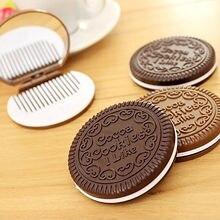 1 шт милое шоколадное печенье в форме модного дизайна зеркало для макияжа с 1 Набор расчесок