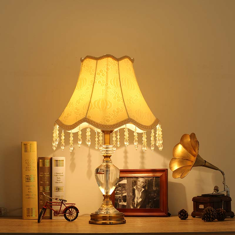 Luxury Modern Crystal Table Lamp Fabric Lampshade Light ...
