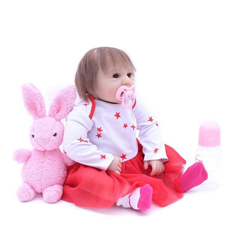 Bebes reborn lalki 47 cm nowy Handmade silikonowe odrodził lalki dla dzieci urocza realistyczne maluch Bonecas dziewczyna prezent menina de silikonowe w Lalki od Zabawki i hobby na  Grupa 2