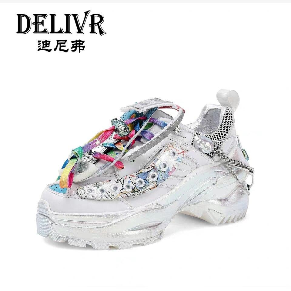 Delivr mujeres papá Zapatos de plataforma de zapatos de suela gruesa zapatos para señoras zapatillas plataforma zapatos vulcanizados zapatos de cuero de vaca