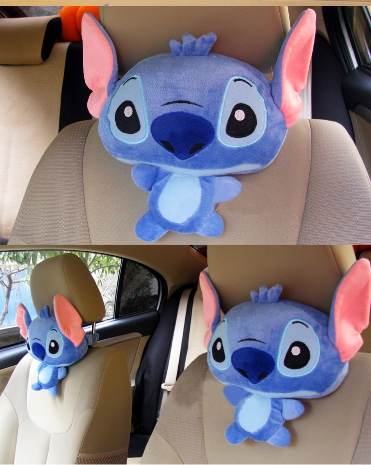 Candice guo plush toy stuffed doll cartoon animal stitch car seat headrest vehicle neck rest pillow cushion birthday gift 1pair cute 1pair 33cm funny stitch lovely plush car soft headrest vehicle bone rest neck pillow stuffed toy