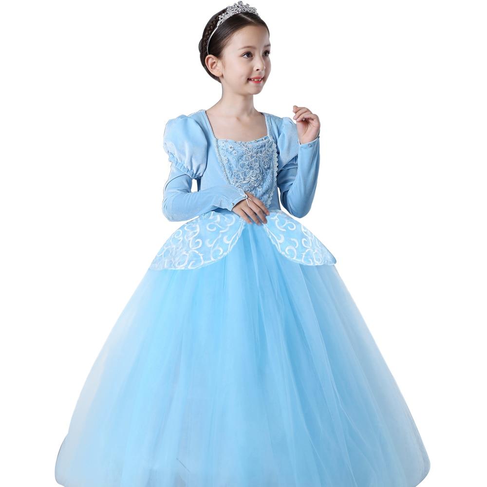 2018 christmas Princess Cinderella dress Girls Blue Long Dress ...