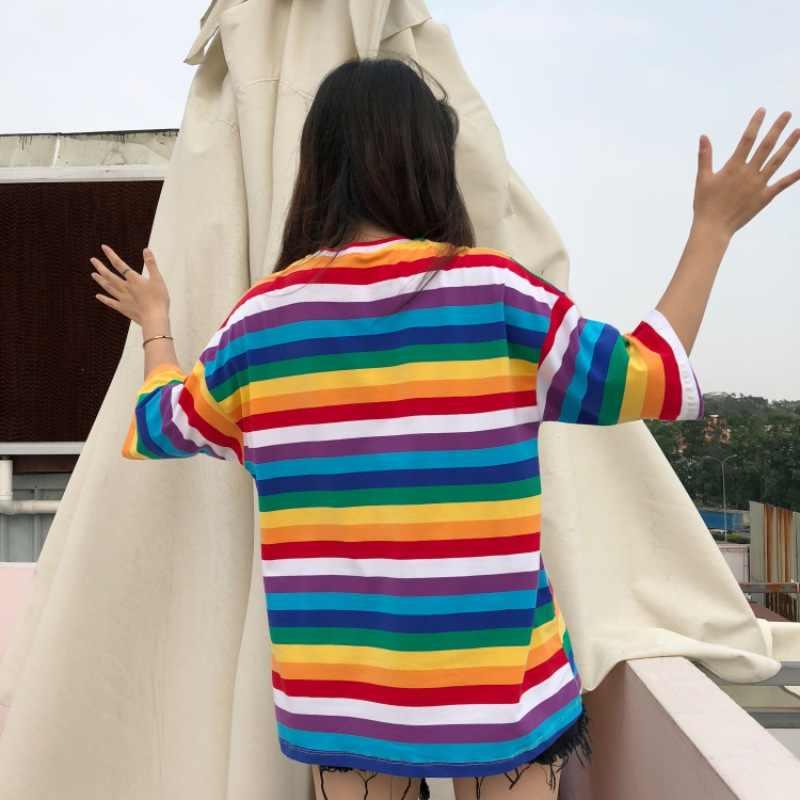 ملون تي شيرت للنساء قوس قزح مخطط القمم Harajuku التي شيرت الصيف قصيرة الأكمام الكورية فاسق تي شيرت camiseta الأنثوية