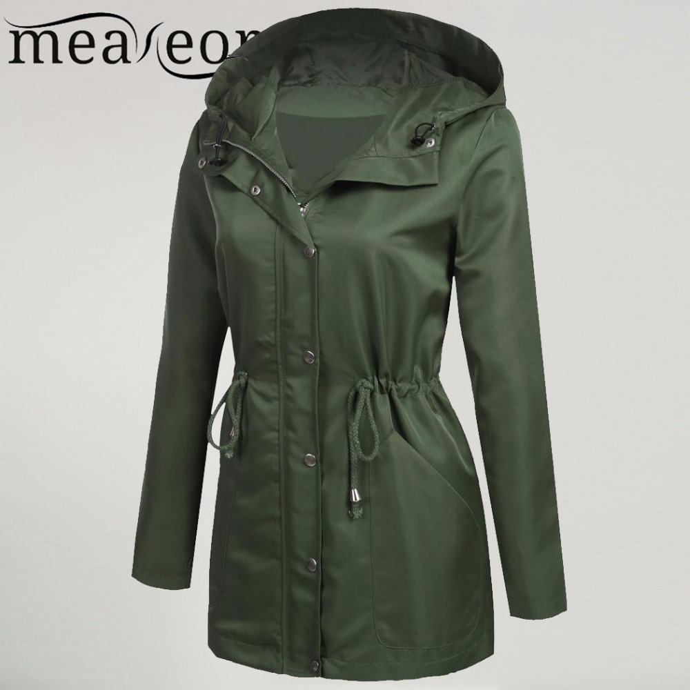 Meaneor Women Jackets Hooded Long Sleeve Outwear Lightweight Jacket adjustable drawstring hood Hip Length Zipper Button Coats