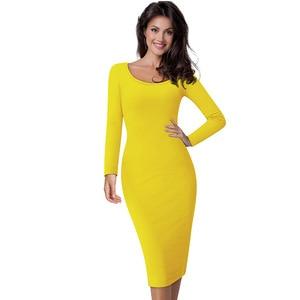 Image 3 - Güzel sonsuza kadar rahat iş Vintage orta buzağı elbise şık kısa ofis bayan katı Scoop boyun tam kollu kılıf kalem elbise b19