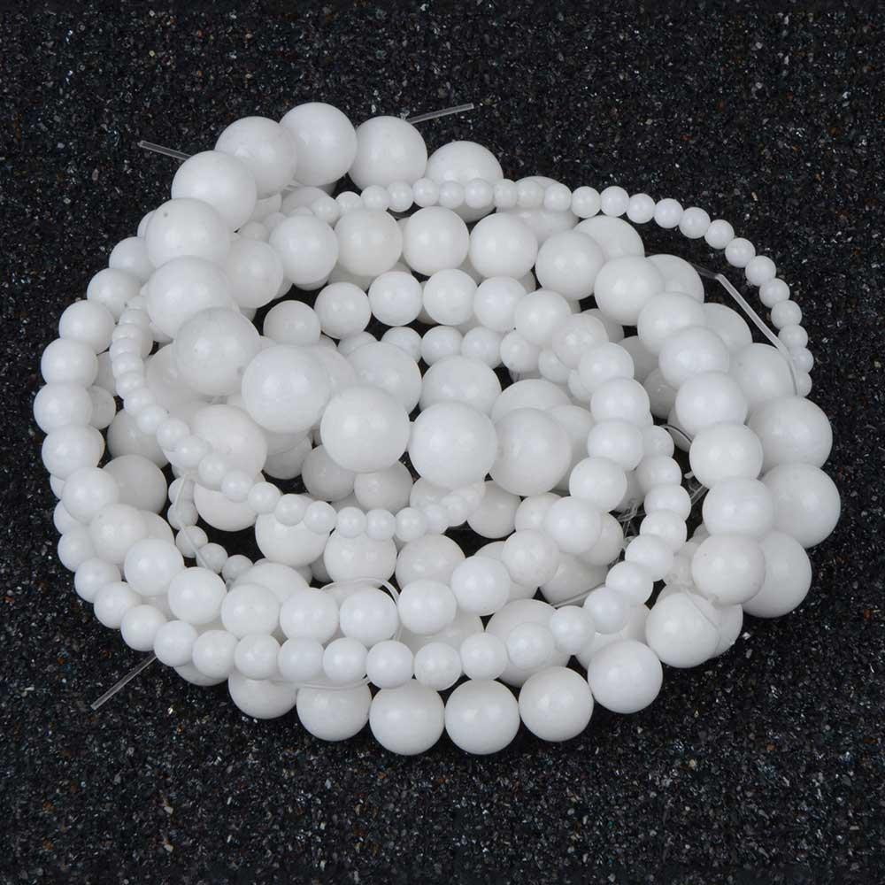 White Semi-precious Stone Beads Women Jewelry DIY Fashion Making Beads 4 6 8 10 12mm