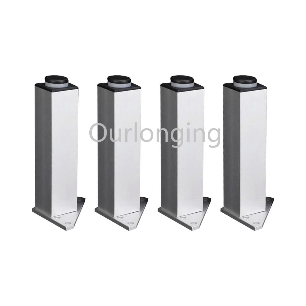 4PCS 100mm Adjustable Triangle Base Silver Aluminum Alloy Furniture Legs Cabinet Sofa Feet