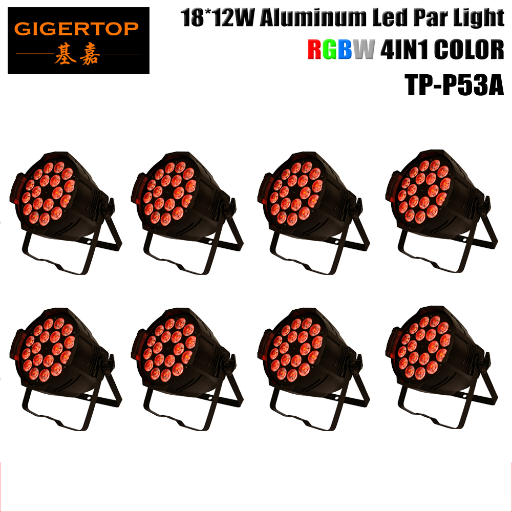 8pcs/lot 18x12W LED Light RGBW 4 Color DMX512 PAR64 CAN DJ Party Club Stage Lighting Aluminum American DJ Mega Par Profile Plus free shipping 8pcs lot led stage par light rgbw 4 color in 1 18x10w dj disco par 64 can lighting dmx 512 wash lights o