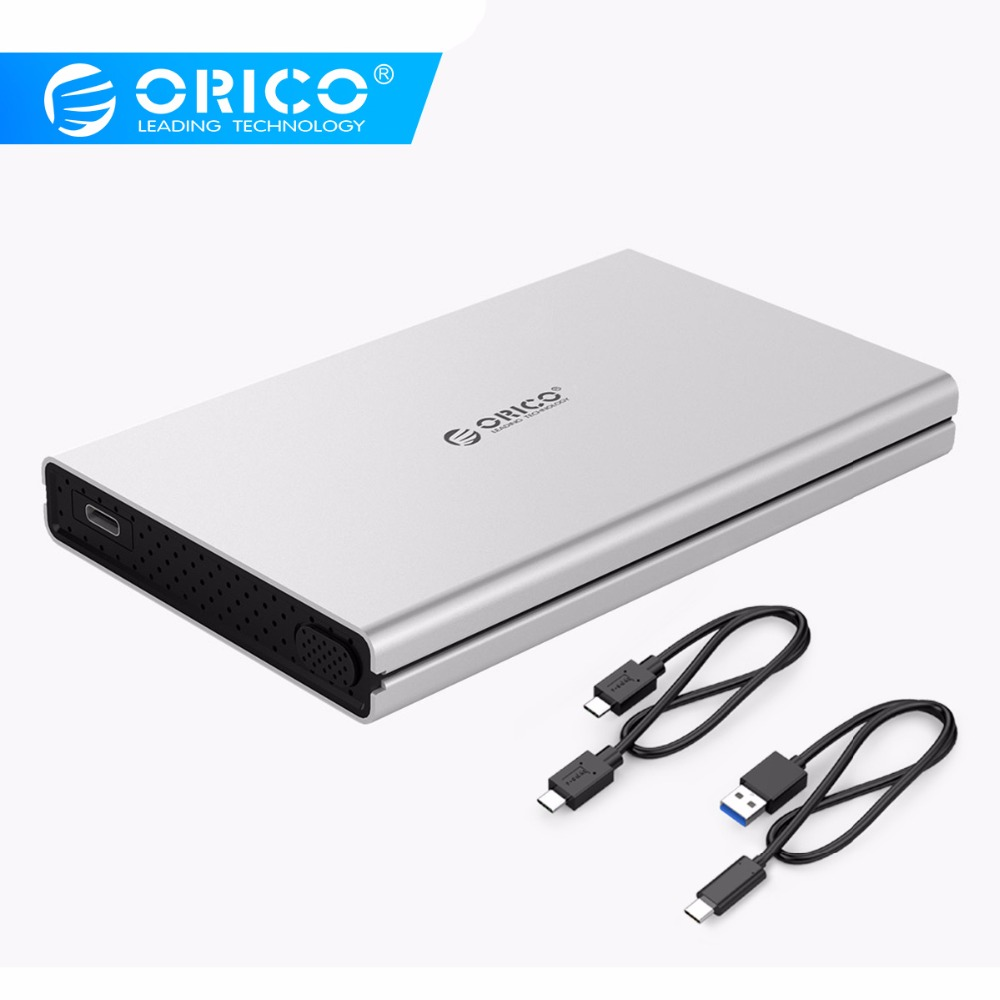ORICO 2.5 Inch Type-C Hard Drive Enclosure SuperSpeed 10Gbps Aluminum Tool Free Type C HDD Enclosure -Silver