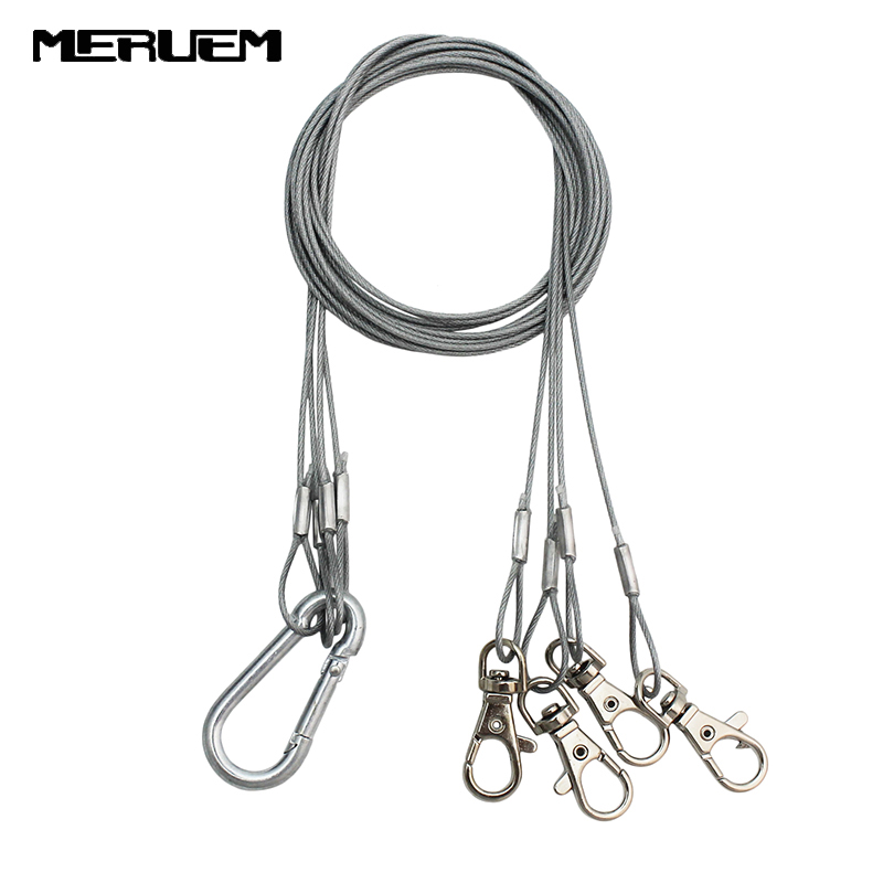 Free Shipping 4strip/Bag  Suspension Kit Stainless Steel Hang Rope Hook Galvanized Steel Cable Hanging Lights Grow Light  Parts