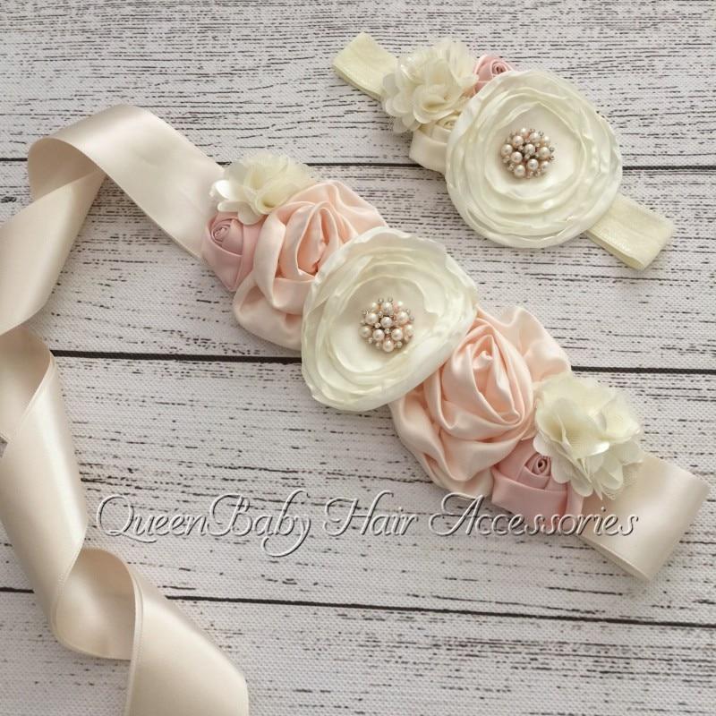 Layered Flower Sash Belt Match Baby Headband Poppy Flower Satin Flower Sash Christmas Gift  Luxe Sash Queenbaby