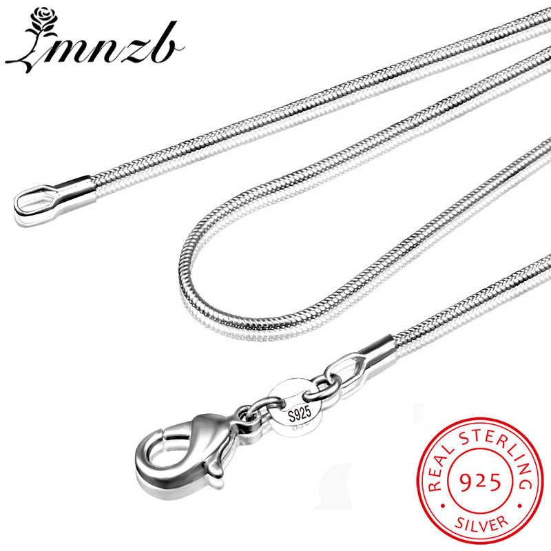 LMNZB 100% Authentic Solid 925 Sterling Silver Choker Necklaces Fine Jewelry 1mm Wide Snake Chain Necklace for Women LYDHX01