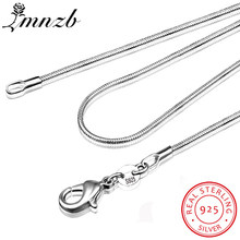 LMNZB 100% Authentic Solid 925 Sterling Silver Choker Necklaces Fine Jewelry 1mm Wide Snake Chain Necklace for Women LYDHX01(China)