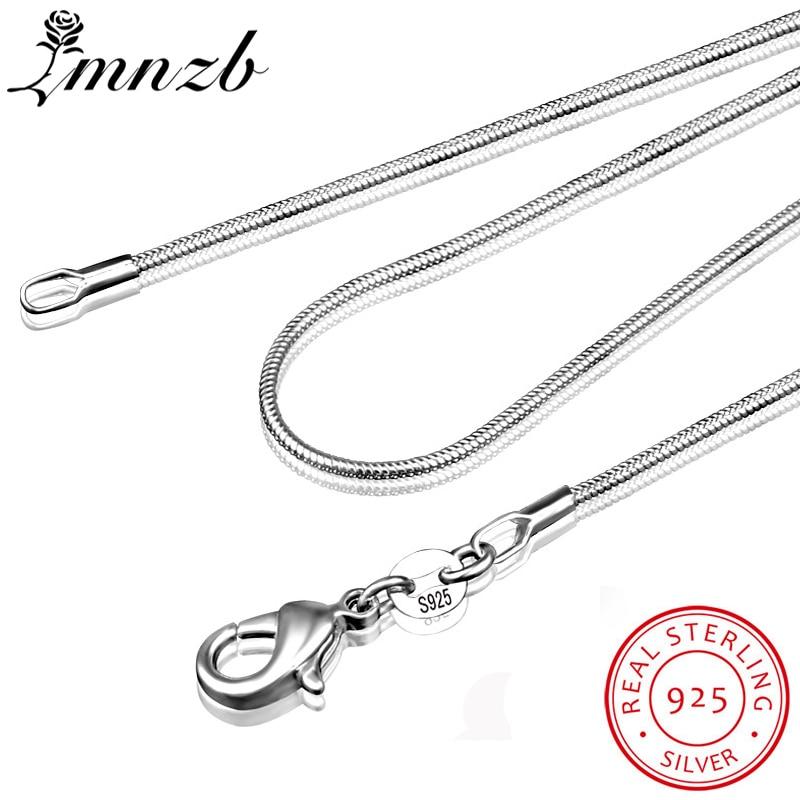 LMNZB 100% authentique solide 925 en argent Sterling colliers ras du cou bijoux fins 1mm de large collier de chaîne de serpent pour les femmes LYDHX01