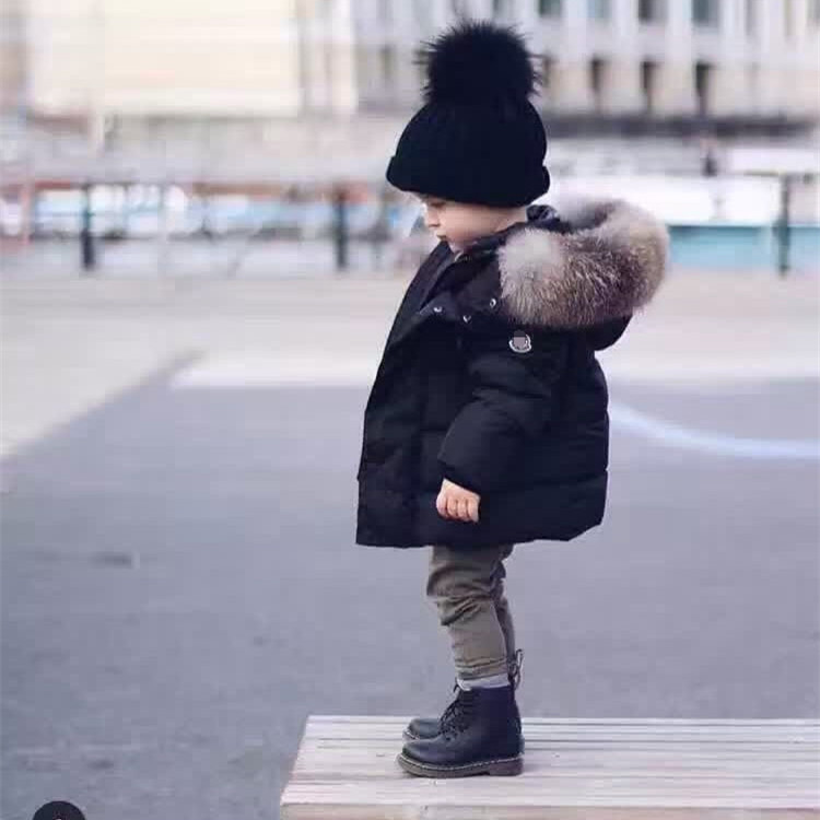 Western Style Baby 0-4Y Snow Wear Thick Black Boys Snowsuit Hooded Big Fur Collar Children Down Winter Jacket For Girls KW-1676 2016 winter boys ski suit set children s snowsuit for baby girl snow overalls ntural fur down jackets trousers clothing sets