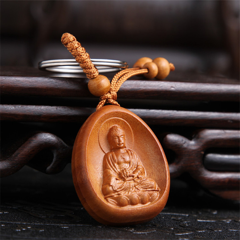 New Arrival Lucky Jewelry Peach Wood Carving Buckle Buddha Pendant Keychain For Car Bag Keyring Wholesale
