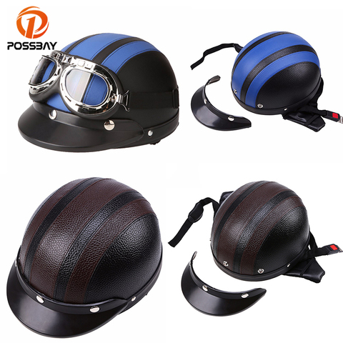 POSSBAY Vintage Motorcycle Helmets Scooter Open Face Half Leather Helmets Visor UV Goggles Cycling Glasses Men Women Helmets Pakistan