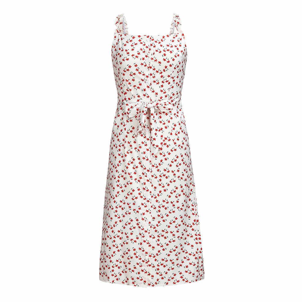 Женское длинное платье на бретельках с цветочным рисунком, летнее модное пляжное платье с принтом, сексуальное платье с широкой юбкой, винтажное платье с высокой эластичной талией