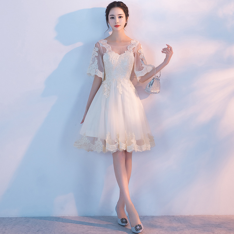 Mingli Tengda Champagne Lace Bridesmaid Dress Short Dresses for Wedding Party O Neck Appliques Dress vestidos
