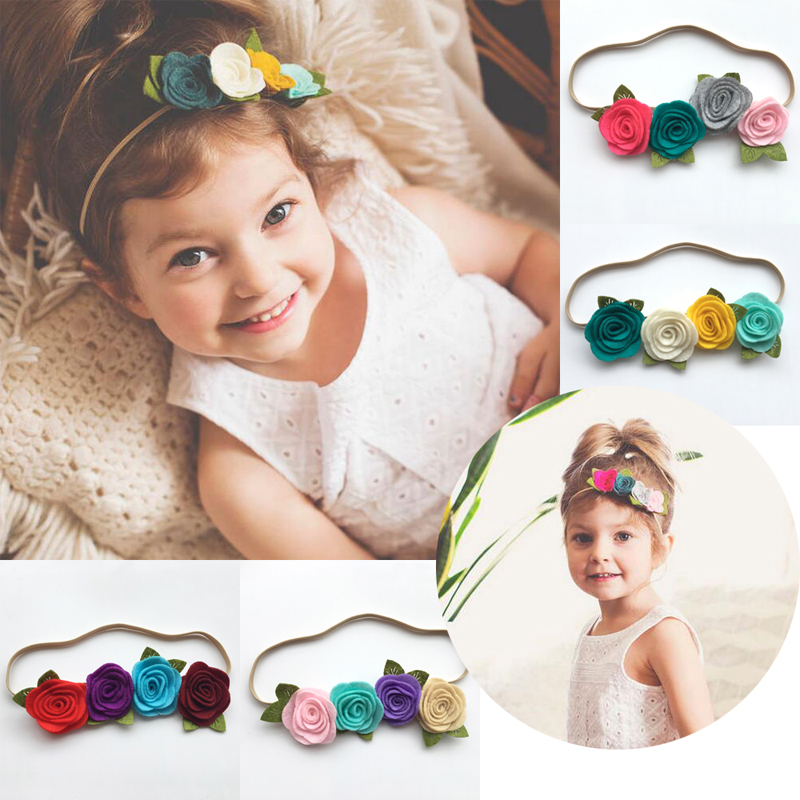 Bebe Girls Flower Headband Four Felt Rose Flowers Head band Elastic Hairbands Rainbow Headwear Hair Accessories bebe girls flower headband four felt rose flowers head band elastic hairbands rainbow headwear hair accessories
