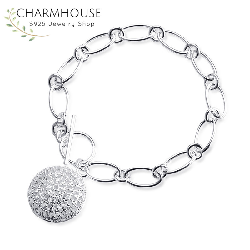 Silver Women Bracelets Circle Tag Charm Bracelet & Bangle Fashion Brand Jewelry Casual Jewelry Gifts for Grils Pulseira Berloque