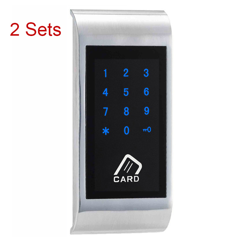 2 Sets Touch Keypad Password EM Card Key for Home Chip Strap for Public Electronic Cabinet Lock For SPA Swimming EM126-TS electronic password cabinet lock induction touch keypad password key lock digital electric cabinet coded locker