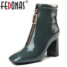 FEDONAS Marke Kuh Leder Stiefeletten Für Frauen High Heels Zipper Kurze Damen Schuhe Frau Karree Party Hochzeit Pumpen
