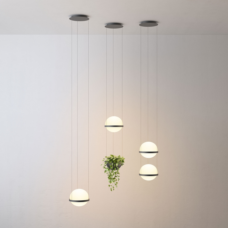 Modern Milk White Glass Ball <font><b>Pendant</b></font> <font><b>Light</b></font> with Plants Pot for Dining Room Foyer Bar Lobby Suspension Hanging Lamp image