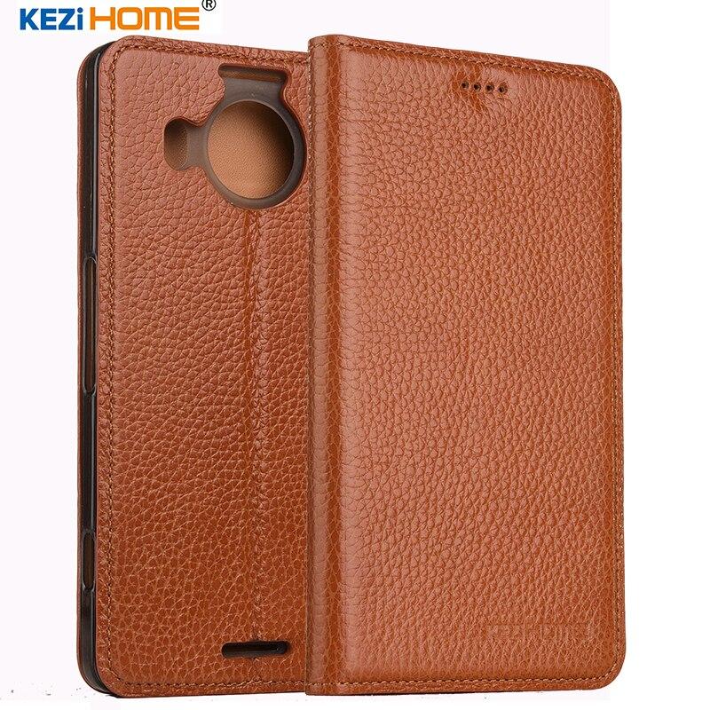 imágenes para KEZiHOME para Nokia lumia 950 XL caso Del Tirón Del cuero genuino cubierta posterior de silicona suave para Microsoft Lumia 950XL