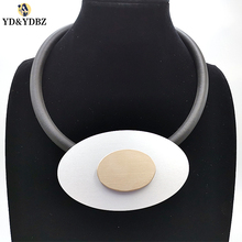 YD&YDBZ Geometric Necklace Women Pendant Necklaces Leather Handmade Chokers Wholesale Female Jewelry Rose Gold Color
