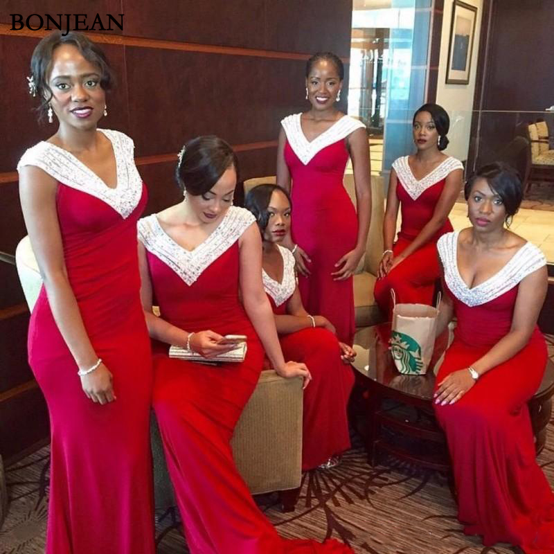 Red And White South Africa Style   Bridesmaid     Dresses   2019 V Neck Mermaid Maid Of Honor Gowns Black Girl Long Prom Party   Dresses