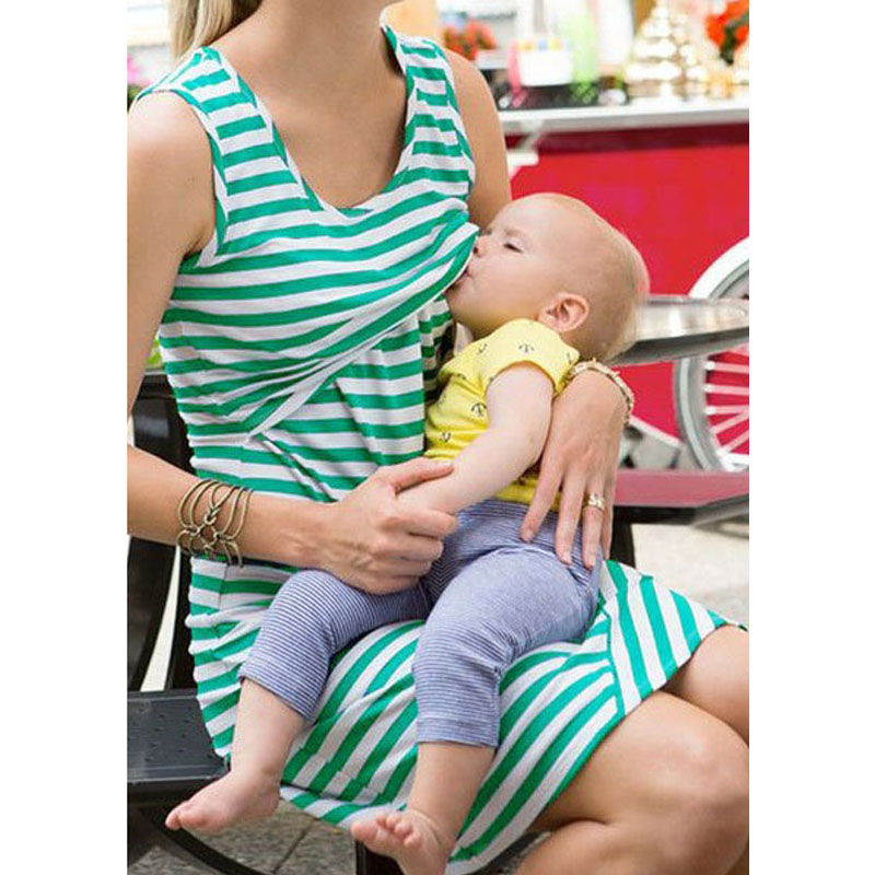 Sleeveless Nursing Dresses Maternity Breastfeeding Clothes For Pregnant Women Gravidas V ...