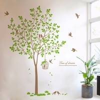 Creative Home Decor Plane Wall Stickers Quotes Big Tree Birds Pattern For Living Room Decoration Decal