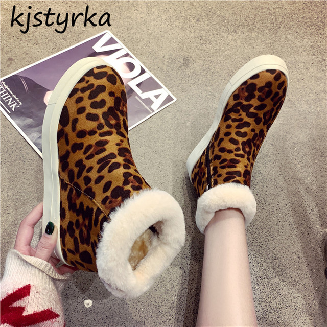 7f60d64b822b kjstyrka 2018 hot leopard multicolor plush mid-calf women boots fashion  round toe comfortable soft fur flats botas botines mujer