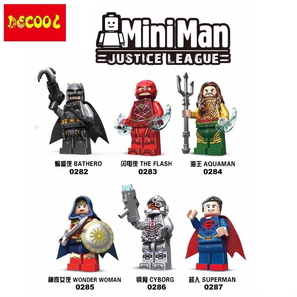 Decool 6pcs/lot 0282-0287 Justice  Batman Wonder Woman Superman Aquaman Building Fit For Minifigure For  Movie