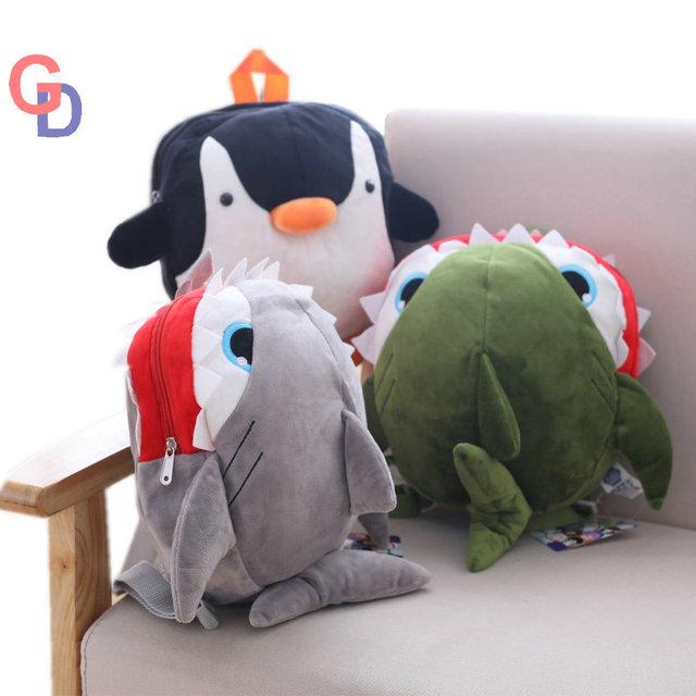 shark dolphin mobula penguin kids plush backpack marine crab cartoon sea  animal fish school bag for a kindergarten children gift 4bef0f3b75bec