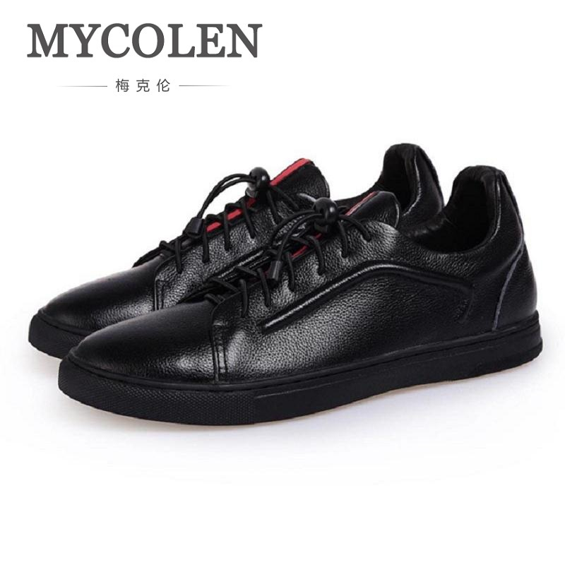 MYCOLEN Spring Autumn New Casual Black Men's Shoes European Breathable Comfort Super Soft Flat Shoes Men Chaussure Homme 2016 spring autumn europe china style new tide men canvas casual shoes blue black letters print sewing elastic band flat shoes