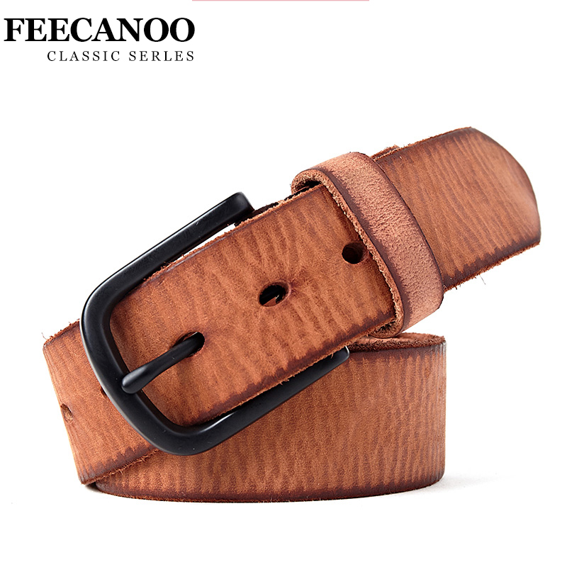 FEECANOO 2017 Top Cow genuine leather belts for men alloy buckle fashion style full grain male belt free shipping