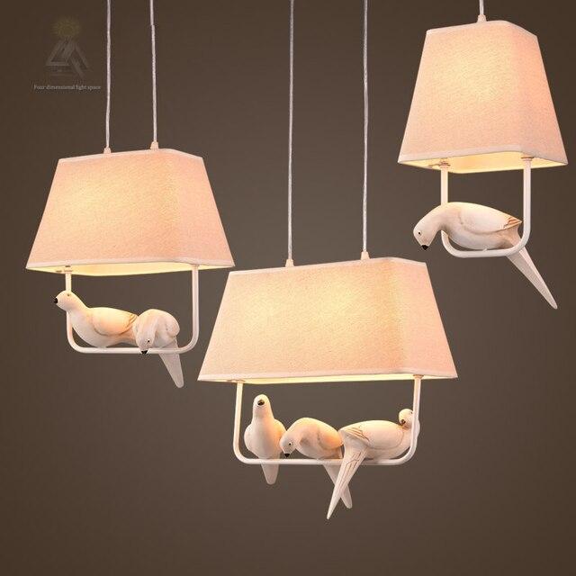 Vintage Vögel pendelleuchten vintage lampe harz vogel stoff ...
