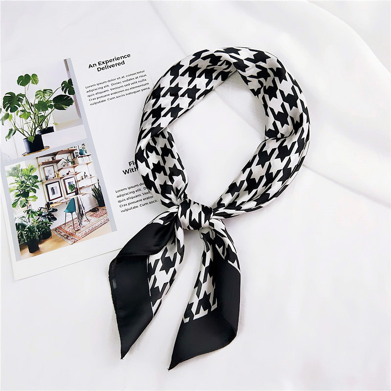 70*70cm Silk Square Scarf Simple Houndstooth Bandana Elegant Women Scarves Print Headwear Hair Band Tie Scarf Lady Neckerchief