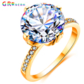 GR.NERH Fashion Jewelry Rhodium Plated Mounting 2.5 ct CZ simulated Diamond Wedding Jewelry Rings For Women
