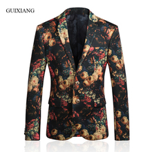 New arrival style men boutique blazer foreign trade Euramerican printing men's single breasted slim suit jacket large size M-5XL