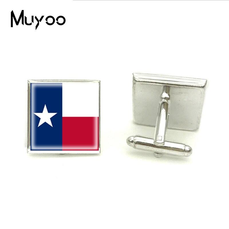 2018 New Texas Flag Square Cufflink High Quality Cufflinks Fashion Glass Hand Craft Jewelry Shirt For Mens Brand Cuff Button