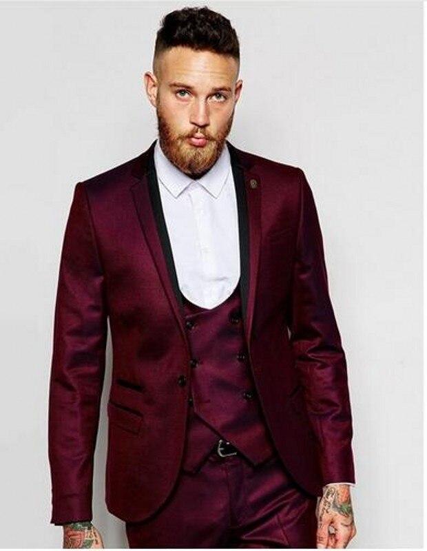 jacke + Pants + Weste + Tie Hochzeit Anzüge Für Männer Einzelnen Breasted Bräutigam Smoking Business Anzug Genossenschaft 3 Stücke Mode Wein Herren Anzug