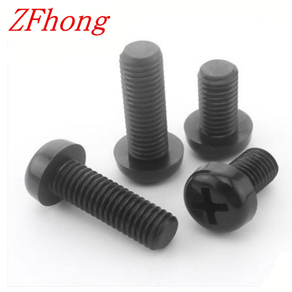 100PCS M3*6/8/10/12/15/18/20/25/30 black nylon phillips round pan head screw fast shipping m3 x 6 nylon screw black round head phillips drive 1000 pieces