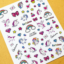 Newest CA-65 68 unicorn design 3d nail sticker templare decals Japan Korea type DIY decoration tools for art