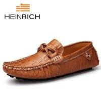 Heinбогатый весна осень модные мужские слипоны повседневная обувь из натуральной кожи с крокодиловым узором мужские Индивидуальные юбки обу